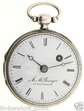 SPINDELTASCHENUHR SILBER UHRMACHERMEISTER: A. BURGER IN BAYREUTH - ALTER CA.1840