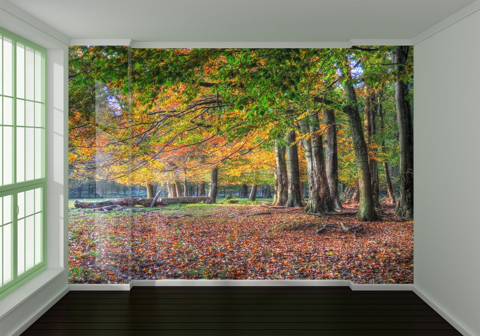 3D Deciduous forest trees Wall Paper Print Decal Wall Deco Indoor wall Mural
