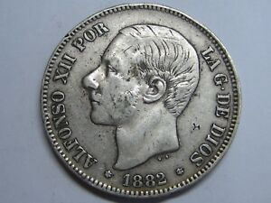 1882-ALFONSO-XII-5-PESETAS-SMALL-OVER-PRINT-SPAIN-SPANISH-SILVER-COIN