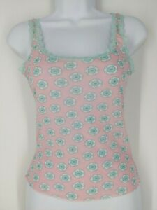 Cosabella Sheer Pink Floral Stretchy Nylon Lace Trim Camisole Medium
