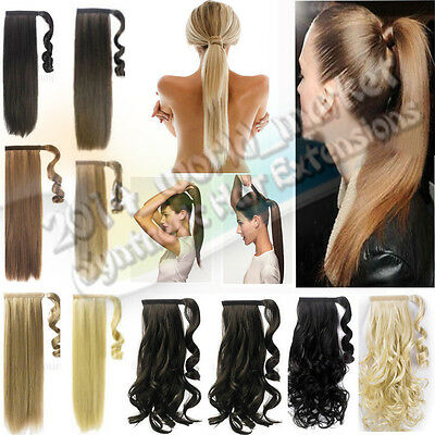 Wrap Around Straight Curly Clip In  Ponytail Hair Extensions For human pony tial