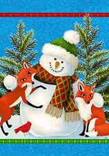 "Snowman & Foxes Winter Garden Flag Holiday Birds Christmas Yard Banner 12"" x 18"""