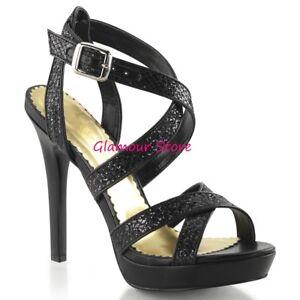 sexy 35 Glamour Plateau Mode De 41 Noir A 12 Sandales paillettes à Bracelet 6xwaRd11q