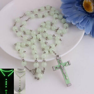 Glow-in-Dark-Rosary-Beads-Luminous-Noctilucent-Necklace-Catholicism-Pray-Nice-SD