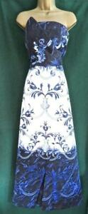 New-TED-BAKER-10-TB2-PERSIAN-BLUE-White-Satin-Baroque-Strapless-Maxi-Prom-Dress
