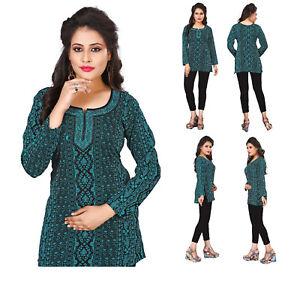 UK-UNIFIEDCLOTHES-Fashion-Indian-Short-Kurti-Tunic-Kurta-Top-Tunic-Dress-36C
