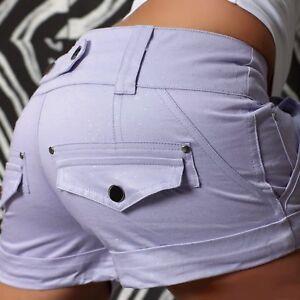 28c9b49742f1 Das Bild wird geladen SeXy-Miss-Damen-Girly-Shorts-silber-Glitzer-kurze-