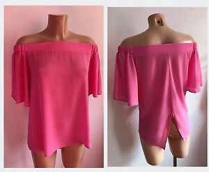 104578f5ceffd Light Pink Bardot Off Shoulder Neck Frill Sleeves Floaty Top Size 12 ...