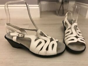Hotter-White-Leather-Wedge-Heel-Cut-Out-Slingbacks-Sandals-Size-7-5