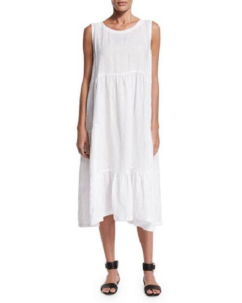 NEW Eskandar WHITE Light Weight Linen Tiered Sleeveless Dress (0)  795