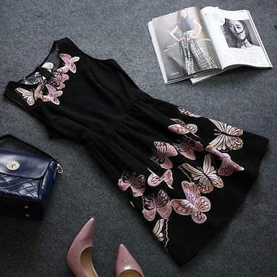 Women Summer Sleeveless Casual Mini Dress Butterfly Printed Party Club Black HF