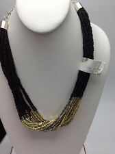 $45 Kenneth Cole Thre Tone Multi Layer Black & Silver beaded Short Necklace 31A