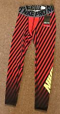 Nike sz M  Men's PRO FOOTBALL Training TIGHTS NEW $60  704840 696 Red & Black