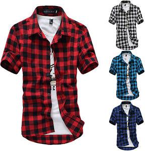 Fashion-Men-039-s-Summer-Casual-Dress-Shirt-Mens-Plaid-Short-Sleeve-Shirts-Tops-Tee