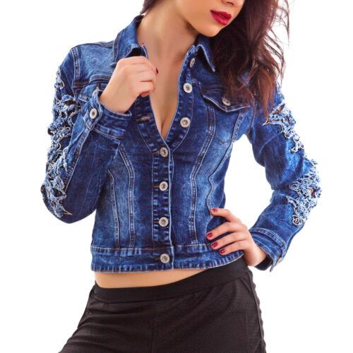 Giubbotto Jeans Giacca A0510 Pizzo Strappi Donna Nuovo Giacchetto Giubbino IZgndrqBg