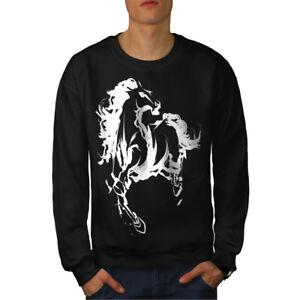 Black di uomo Felpa freschi New cavallo stampati da animali con RczpZwrFzq