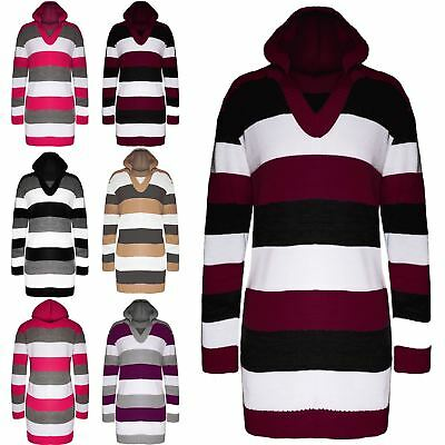Methodisch New Womens Cricket Block Stripes Knit Hoodie Ladies Mini Dress Hooded Jumper Top