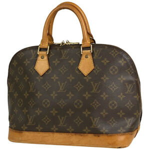 Louis Vuitton Alma Handbag Hand Bag Monogram Brown M51130 Women