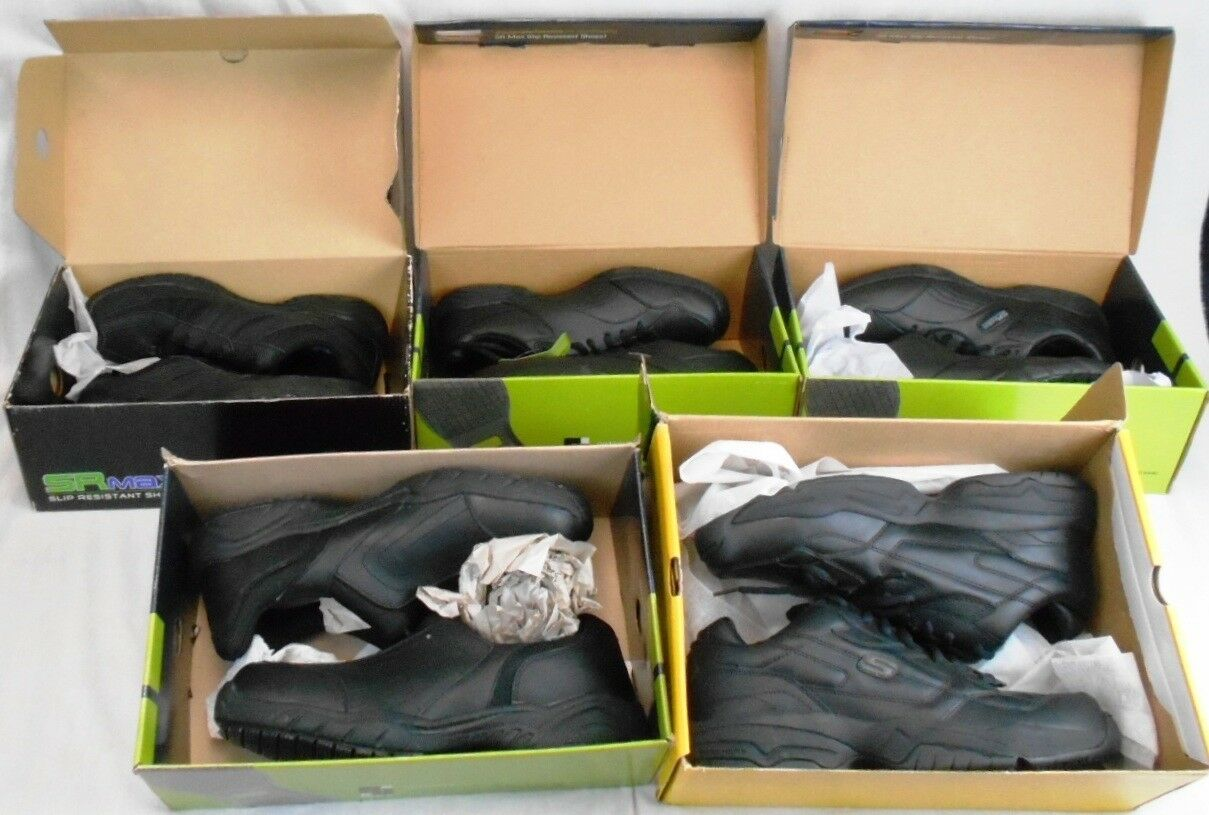 Lot of 5 Pairs of NIB Men's Black Work Shoes Sizes 11-12 Most SRMax