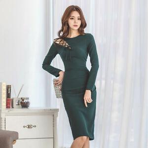 690b2ca21a70 Caricamento dell immagine in corso Elegante-raffinato-abito-vestito-donna -tubino-lungo-verde-