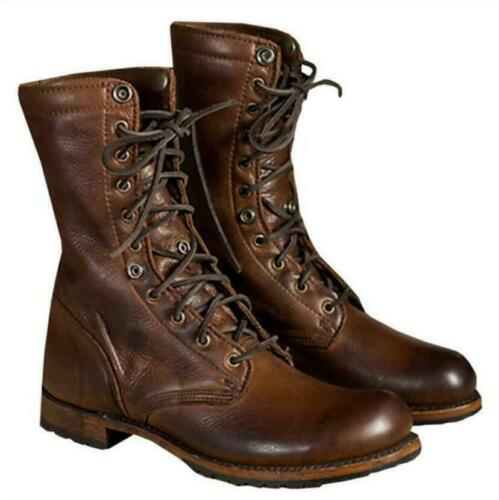 Rétro Hommes Cuir Combat Lacets Militaire Armée Bottines Motardes Mi-Mollet Bottes Chaussures