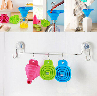 Silicone Gel Practical Collapsible Foldable Funnel Hopper Kitchen Tool WO UA