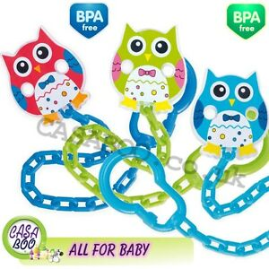 Baby-dummy-clip-soother-holder-chain-Green-Red-Pink-Owls-strap-ribbon-NEW