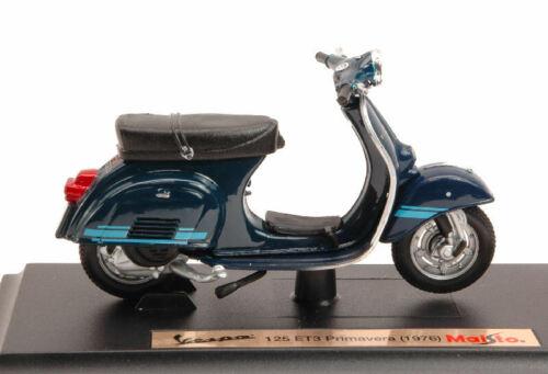 VESPA 125 ET3 PRIMAVERA 1976 BLUE 1:18 MOTO MAISTO SCALA MODELS