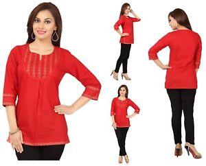 Indian-Pakistani-Designer-Cotton-Kurta-Kurti-3-4-Sleeve-Tunic-Dress-Women-MM59B