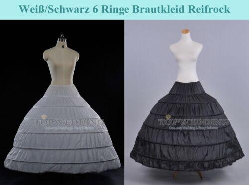 Vintage Reifrock PETTICOAT Brautkleid Krinoline Unterrock Weiß/Schwarz 6 Ringe