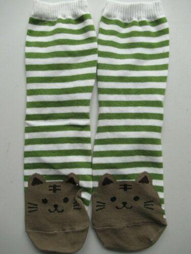 Neuf Femme Filles Marron Chat Visage /& Rayures Vert Chaussettes envoi gratuit 1 paire