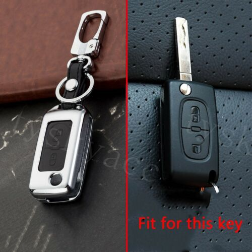 2 Buttons Key Bag Fit For Peugeot 207 307 308 407 Metal Key Fob Case Shell Cover