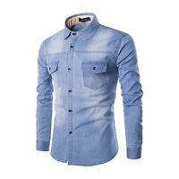 Fashion Men Slim Smart Long Sleeve Casual Denim Shirt Jeans Shirts Tee Top Plus