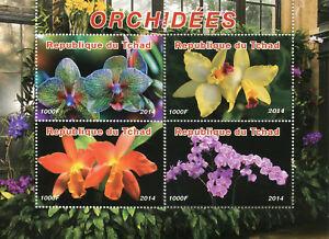 Chad-2014-Gomma-integra-non-linguellato-orchidee-orchidea-FIORI-4v-M-S-PIANTE-NATURA-FRANCOBOLLI