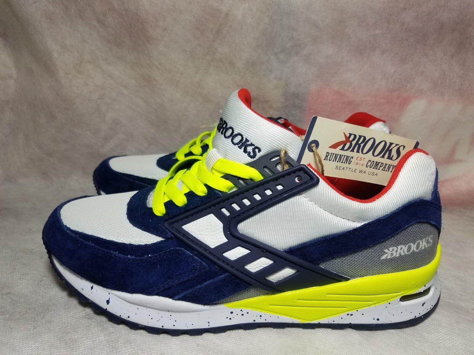 New Brooks Beast City Regent Uomo Size 7 Blue Suede Volt Red Outdoor Running Shoe