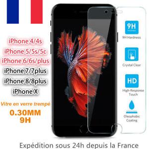 Vitre-protection-Verre-trempe-Film-protege-d-039-ecran-iPhone-SE-5-6-6S-7-8-Plus-X