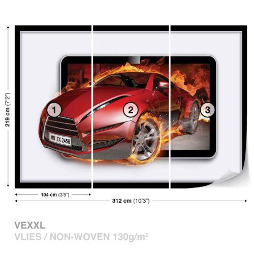 Tapete Fototapete Transport Auto Sportwagen roter Wagen in Flammen Feuer
