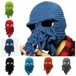 587fce9480a Men Women Handmade Knitted Octopus Cap Squid Beanie Balaclava Wool ...