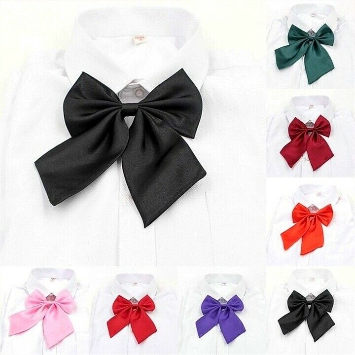 Women Bow Tie Girls Wedding Party Butterfly Adjustable Solid color Necktie