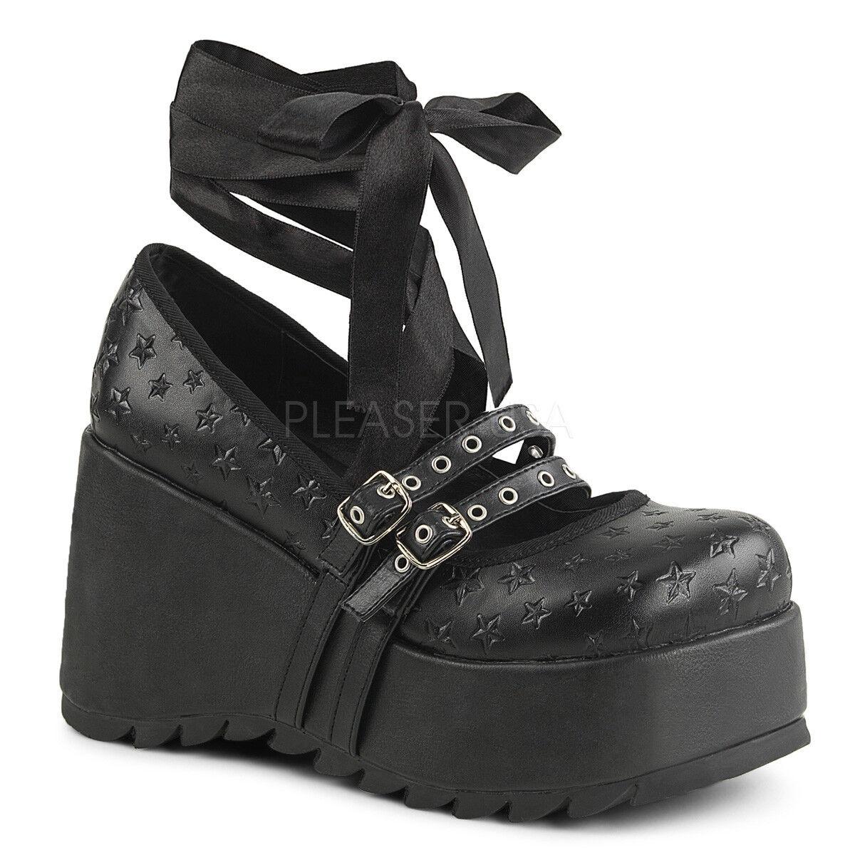 Demonia SCENE-20 SCENE-20 SCENE-20 Womens Punk Goth Black Vegan Leather Platform Maryjane shoes 7d1b02