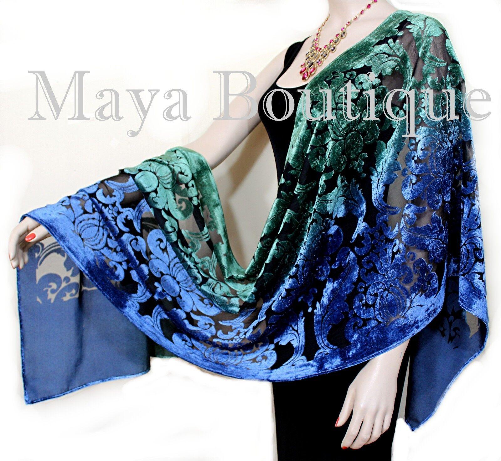 Hand Dyed Maya Matazaro Baroque Shawl Wrap Scarf Burnout Velvet Green Blue Ombre
