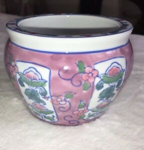 Ben-Rickert-pottery-floral-dish-planter-signed-pink-vintage-beautiful-3-1-2-H