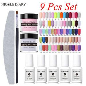 9Pcs-Set-NICOLE-DIARY-Dipping-Powder-Glitter-System-Liquid-Nail-Art-Starter-Kit