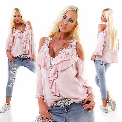 5PEOPLE!S MADE IN ITALY Bluse Spitze oversized rosa Einheitsgr. 38-40
