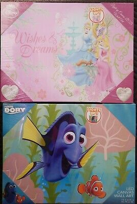 Disney Princess Led Light Up Canvas Wall Art Posters Prints