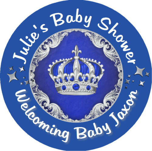BLUE /& SILVER PRINCE CROWN BABY SHOWER CUSTOM ROUND LABELS PARTY STICKERS FAVORS