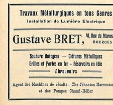BOURGES GUSTAVE BRET TRAVAUX METALLURGIQUES PUBLICITE 1923