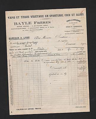 Besorgt Lyon, Rechnung 1927, Bayle Frères Tapis Et Tissus Végétaux En Sparterie Coco Et Mit Den Modernsten GeräTen Und Techniken