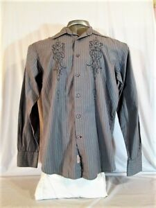 b5b3f7c3a Image is loading GUESS-MARCIANO-mens-Medium-L-S-GRAY-EMBROIDERED-BUTTON-