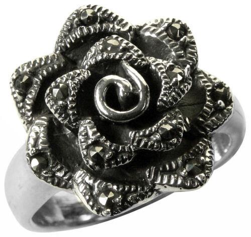 925 ECHT SILBER *** Markasit Rose Ring Größenauswahl